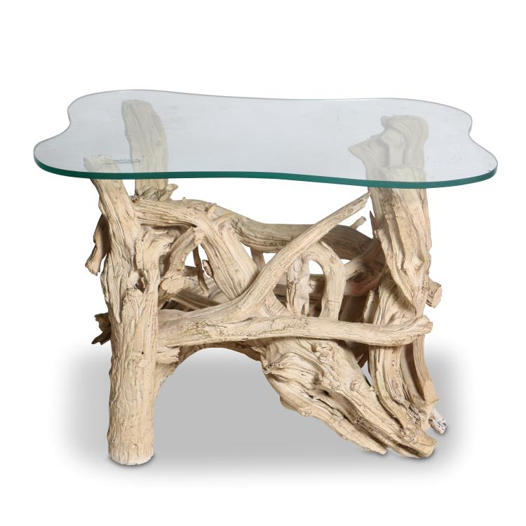 Vintage Gesso Washed and Gilded Driftwood Side Table, circa 1950's