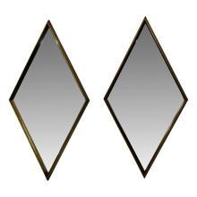 Pair of La Barge Gold Diamond Shaped Mirrors