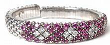 5.00ct Pink Sapphire & 1.75ct Diamond Bangle Bracelet