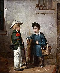 H.J. DILLENS, The little soldier, Oil on panel