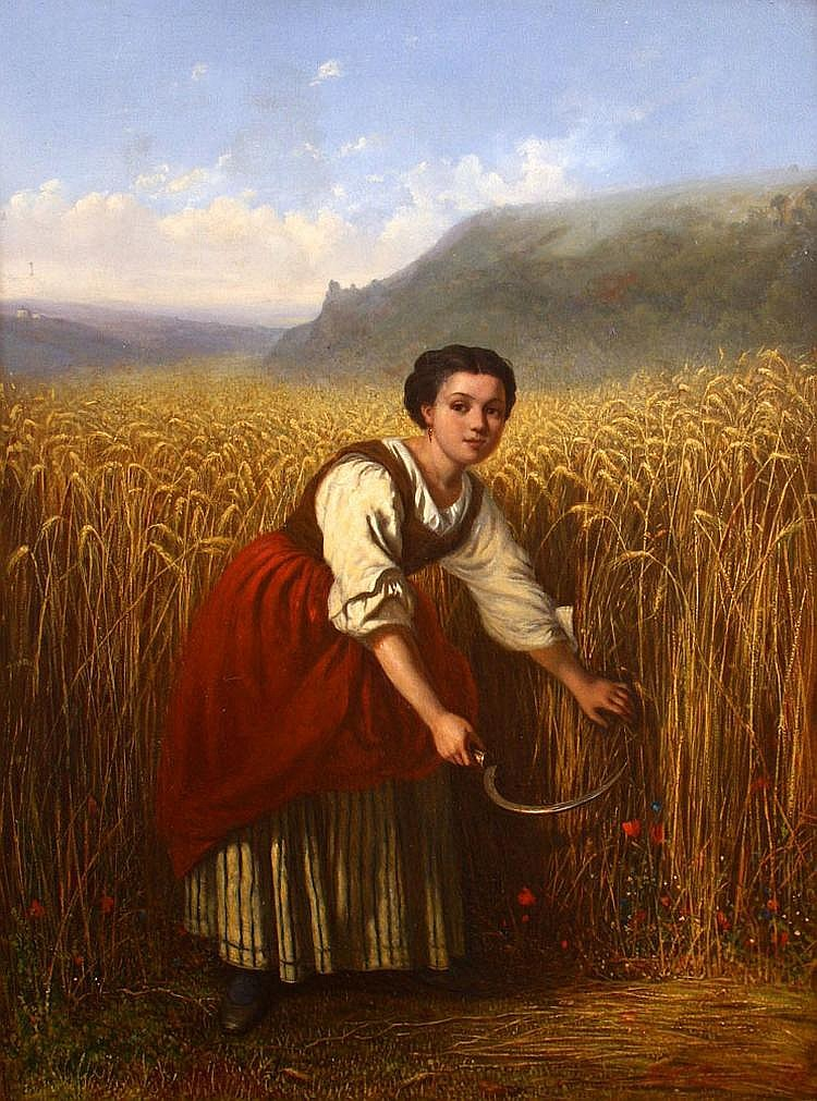 M.W. LIERNUR, Landscape with farmers girl, Oil on panel