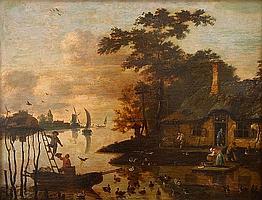 C.J. v.d. WILLIGEN, View on a river landscape, Oil on panel
