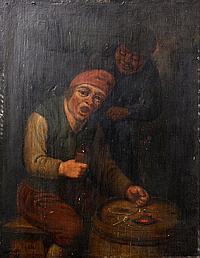H. van RAVESTEYN, The doctor's visit, Oil on panel