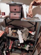 Shelf, Shoe Lathe, Saws & Shelf Contents