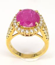 Ring in No Heat Ruby and Diamonds in 18 kt Yellow Gold