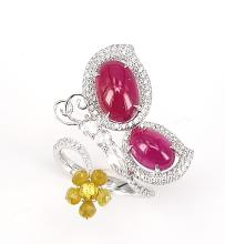 Butterfly on Flower Ring in Ruby Cabochons, White Diamonds and Fancy Yellow Diamonds in 18 kt White Gold