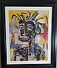 Jean Michell Basquiat water color on paper (attrib)( coa )size:28