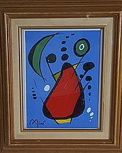 Joan Miro-Oil on Paper-Size: 9.5