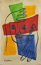 Fernand Leger-(attrib)-Water color on paper-Size: 14
