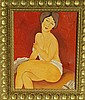 A. Modigliani-Oil on Canvas-Red Woman-Attrib. COA-Size: 19.5