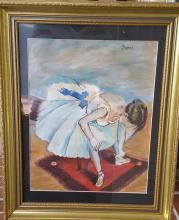 Edgar Degas-Girl Dedicated-Colored pastel/paper (Attrib.)(coa)size: 18