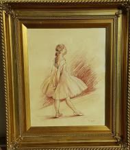 Edgar Degas (attrib), nina  bailarina mixed media on paper