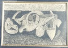 Rufino Tamayo-Abstracto-Charcoal on Paper (Attrib.) Dimensions: 9