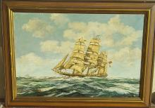 The Clipper Boat by Terry-Oil on Canvas- Size: 24