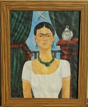 Frida Kahlo-Oil on Canvas-Attib.COA-Size: 24