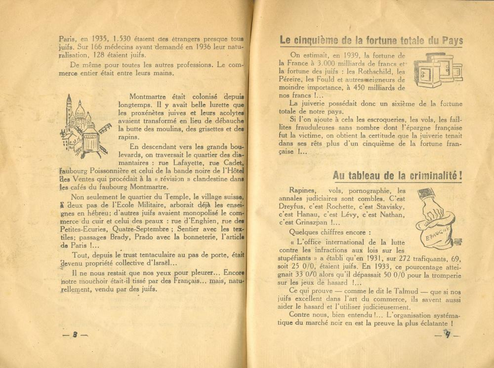 Antisemitism - A rare antisemitic pamphlet, calling for obliging Jews defined as 'France's disaster' to wear a yellow badge. France, 1930s
