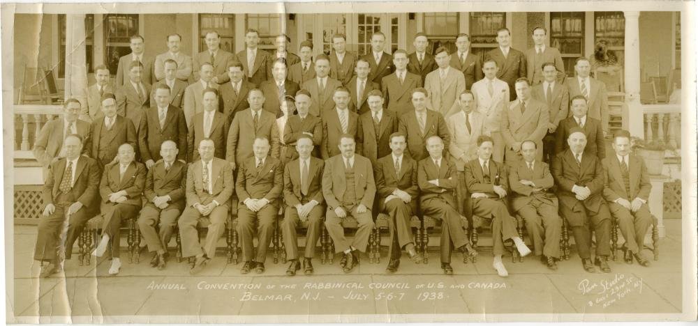 A group photograph of the members of the Rabbinical Council - the annual conference of the rabbis of America and Canada, 1938
