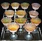 12 Antique Opalescent Champagne Sorbet Glasses