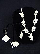 CARVED IVORY NECKLACE EARRINGS AND BROOCH