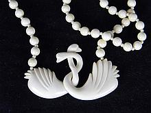 CHINESE CARVED IVORY DOUBLE LOVERS SWANS NECKLACE