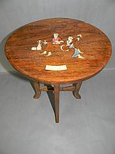 OMAR KHAYYAM RUBAIYAT BONE & WOOD INLAY TEA TABLE