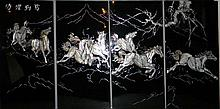 4 CHINESE LACQUER MOTHER OF PEARL HORSE PANELS