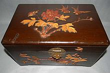 CHINESE CAMPHOR WOOD INLAID RELIEF CARVED BOX
