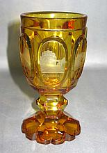 19TH C ETCHED GLASS GERMAN OVERLAY GOBLET