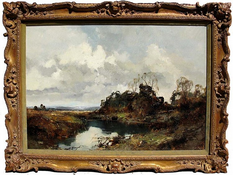 PAUL HENZE GERMAN OIL ON CANVAS LANDSCAPE PAINTING