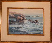 EDITH SOWERSBY OIL ON BOARD CALIFORNIA SEASCAPE