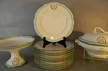 FRENCH PORCELAIN SERVICE TUREEN, COMPOTE, PLATES