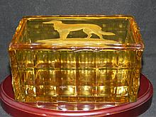 CZECH BOHEMIAN GLASS BOX BORZOI OR WOLFHOUND