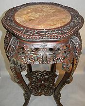 19th C. CHINESE CARVED HARDWOOD & MARBLE STAND 36