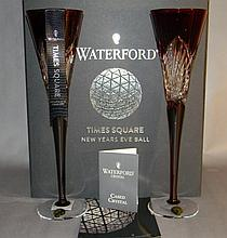 2 RUBY RED WATERFORD CRYSTAL CHAMPAGNE FLUTES