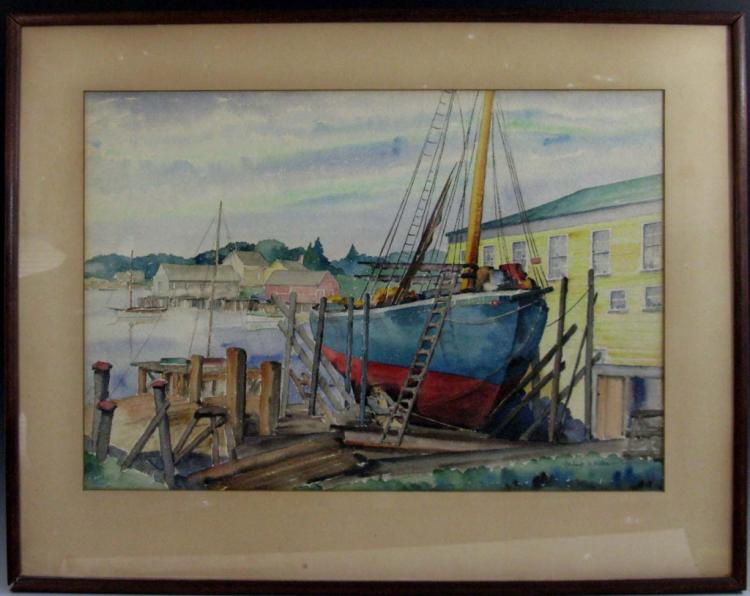 HERBERT S. KATES PORT SCENE WATERCOLOR PAINTING