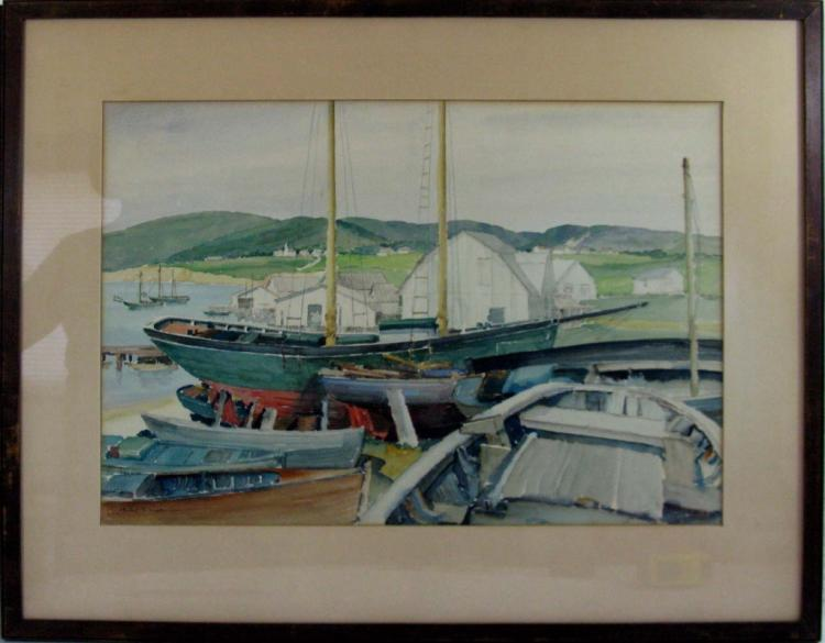 HERBERT S. KATES WATERCOLOR MASS PORT SCENE