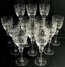 Rogaska Cut Crystal Water or Wine Stems 9 1/4h