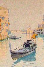Camillo Bortoluzzi Venetian Gondolia Watercolor Painting