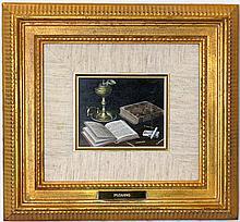 L. Pizarro Trompe L'oeil Oil on Board Study