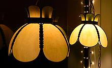 Pair of Vintage Slag Glass Hanging Lamps