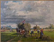 Georg Hemmrich German Impressionist Oil Haymaking