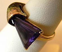 10K Gold Custom Ring with Triangular Amethyst