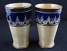 2 Doulton Lambeth Stoneware Beakers