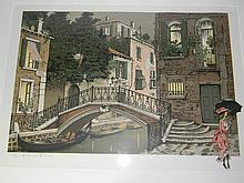 DENNIS PAUL NOYER LTD ED LITHOGRAPH VENICE IN RAIN