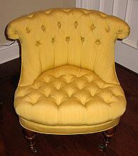DIMINUITIVE VICTORIAN UPHOLSTERED SLIPPER CHAIR