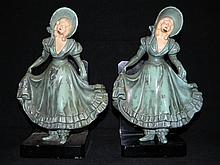 J.B. HIRSCH ATTRIBUTED METAL BOOKENDS GIRL CURTSEY