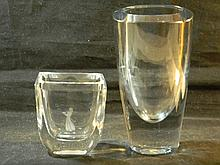 2 SWEDISH ART GLASS VASES STROMBERG & ETCHED SKRUF