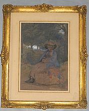 EDWARD THOMPSON DAVIS (1833 - 1867) WATERCOLOR