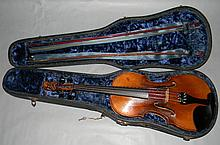 FRENCH VIOLIN MANNER OF HONORE DERAZEY 2 BOWS 1 SIGNED