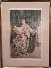LOUIS ICART CASANOVA SIGNED HAND COLORED ETCHING